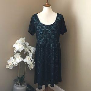 Torrid Black & Teal Lacy Short Sleeve Dress
